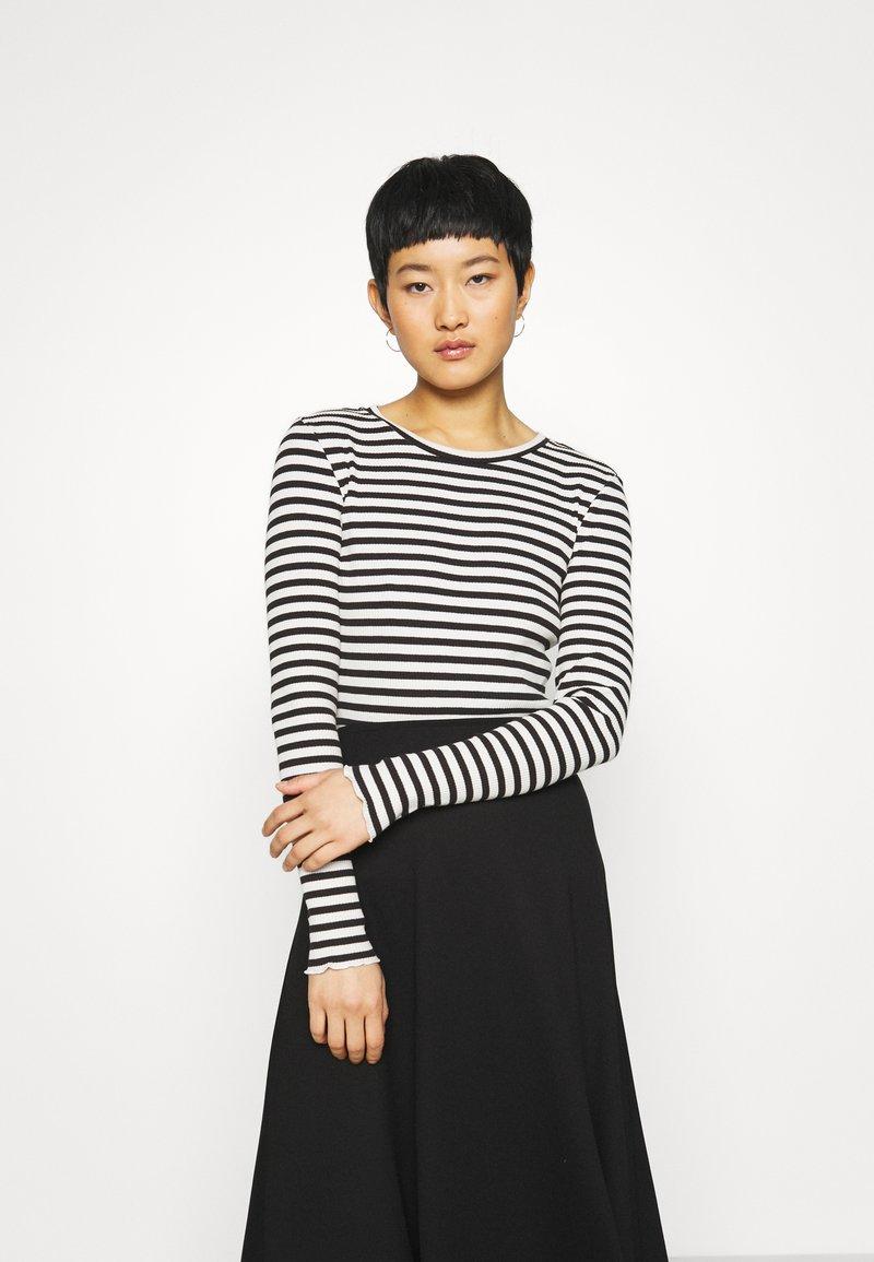 Selected Femme - SLFANNA CREW NECK TEE  - Long sleeved top - black/snow white stripes