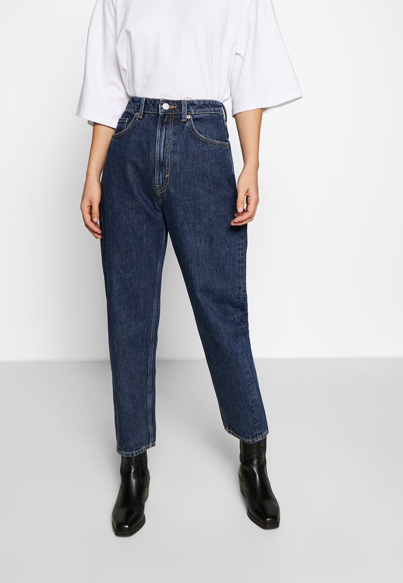 Weekday - MEG HIGH MOM WASHED BACK - Jeans straight leg - win blue
