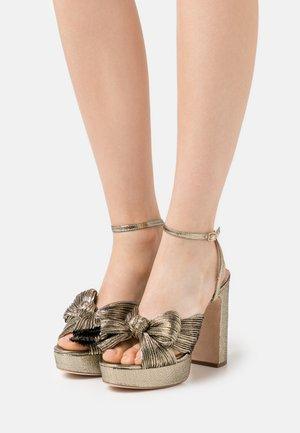 NATALIA - Sandály na vysokém podpatku - gold lame