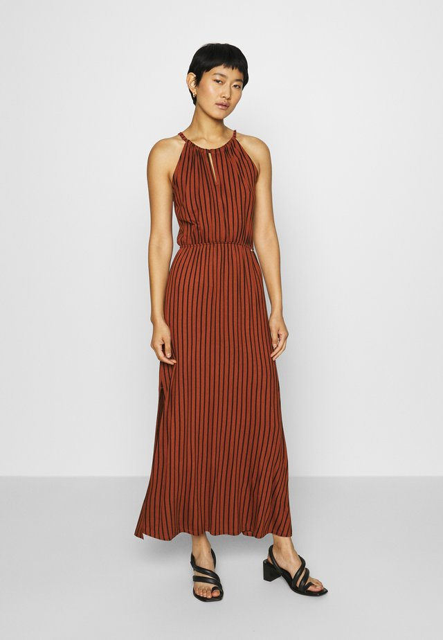 STRIPED NECKHOLDER DRESS - Jersey dress - rust/black
