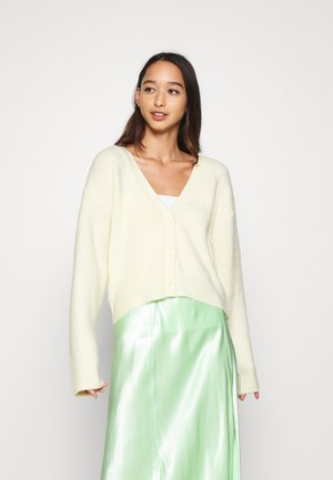 PLUNGE NECK CARDIGAN - Cardigan - off white