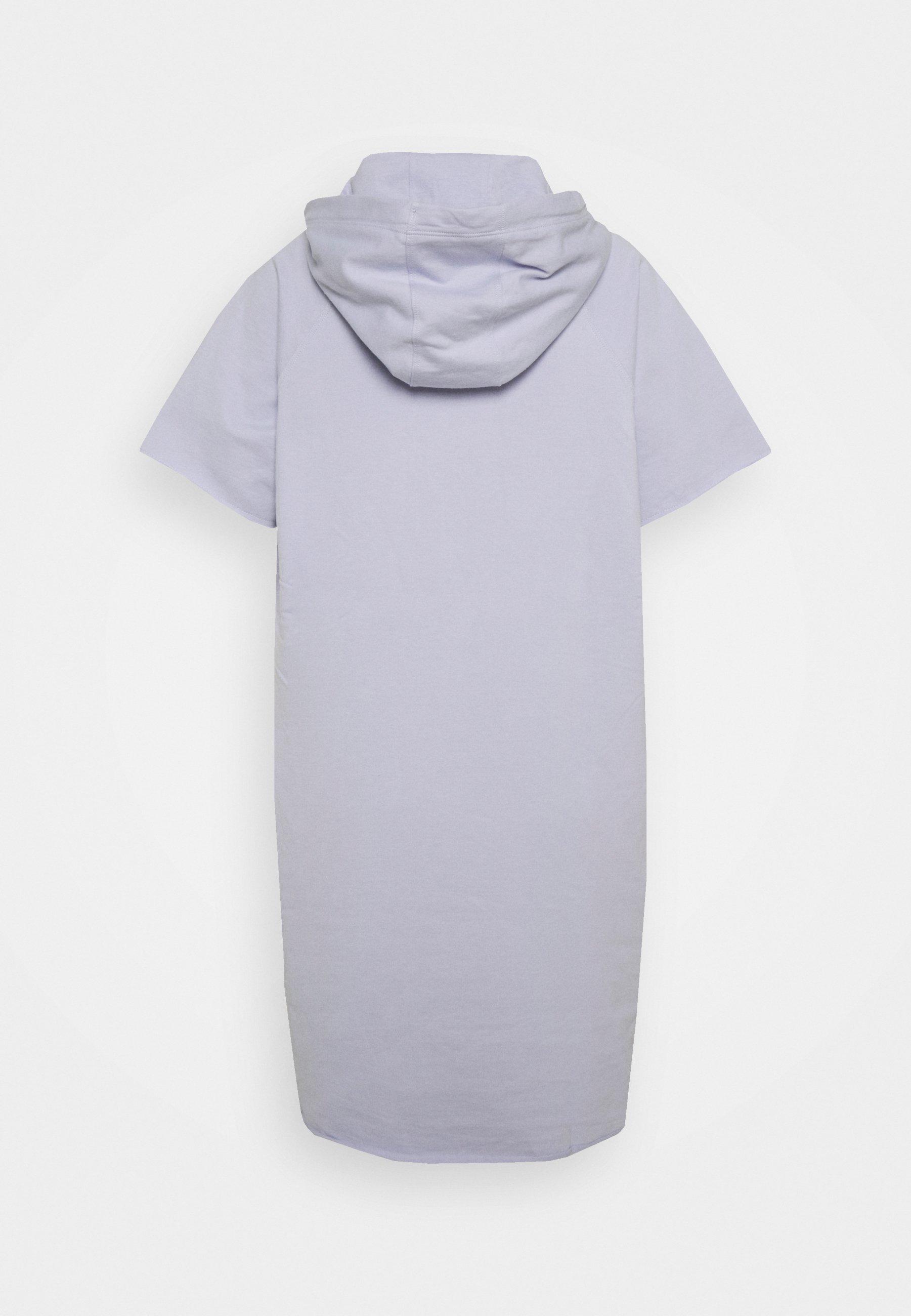 Women SHORT SLEEVE HOODED SWEATSHIRT DRESS EMBROIDERED LOGO - Day dress