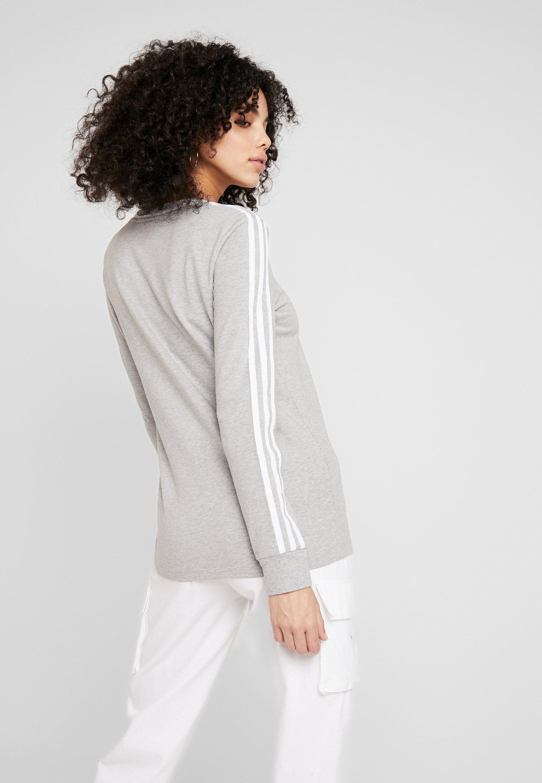 adidas Originals Maglietta a manica lunga - medium grey heather/white - Abbigliamento da donna Sbrigati