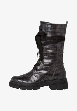 Lace-up ankle boots - dk.grey croco