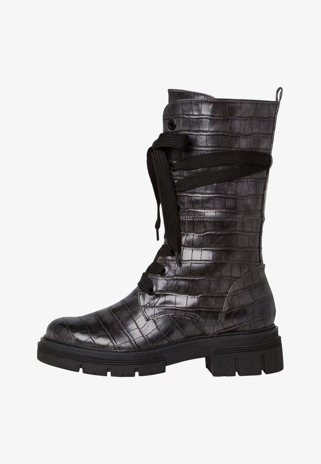 Snørestøvletter - dk.grey croco