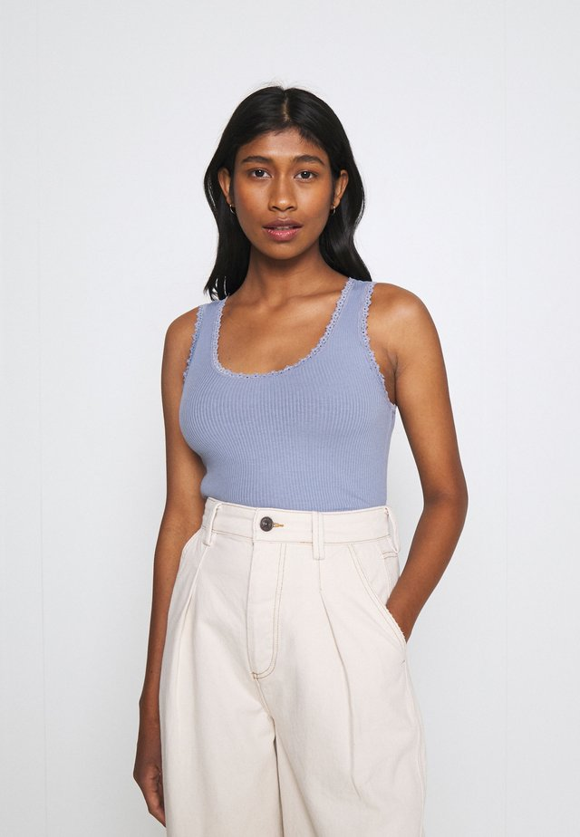 PICOT TRIMMED TANK - Top - blue