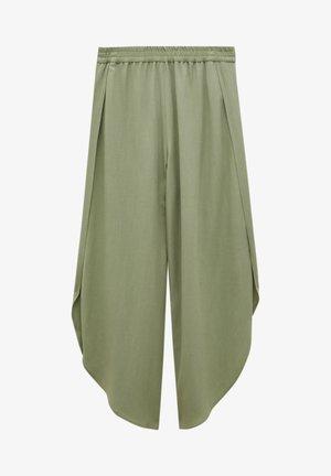 FLIESSENDE MIT SCHLITZEN - Trousers - dark green