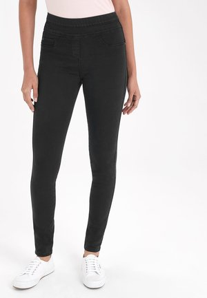 DARK BLUE SCULPT PULL-ON DENIM LEGGINGS - Jeggings - black