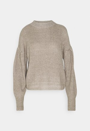 PUFF UP SLEEVE KNIT SWEATER - Sweter - beige