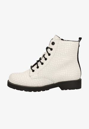 Lace-up ankle boots - white croco 192