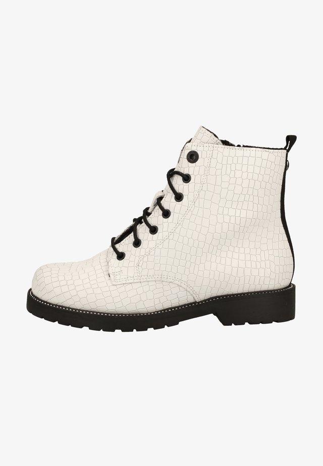 Botines con cordones - white croco 192