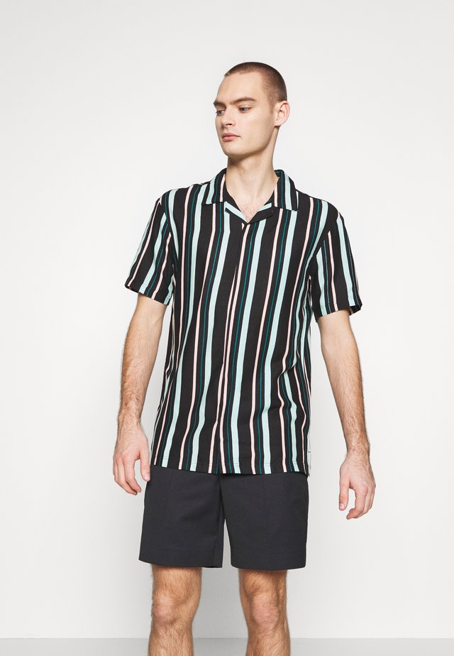 UNISEX STRIPED SHORT SLEEVE BOWL - Vapaa-ajan kauluspaita - black