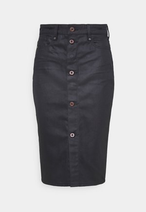 NOXER NAVY PENCIL BUTTON SKIRT - Pencil skirt - waxed black cobler