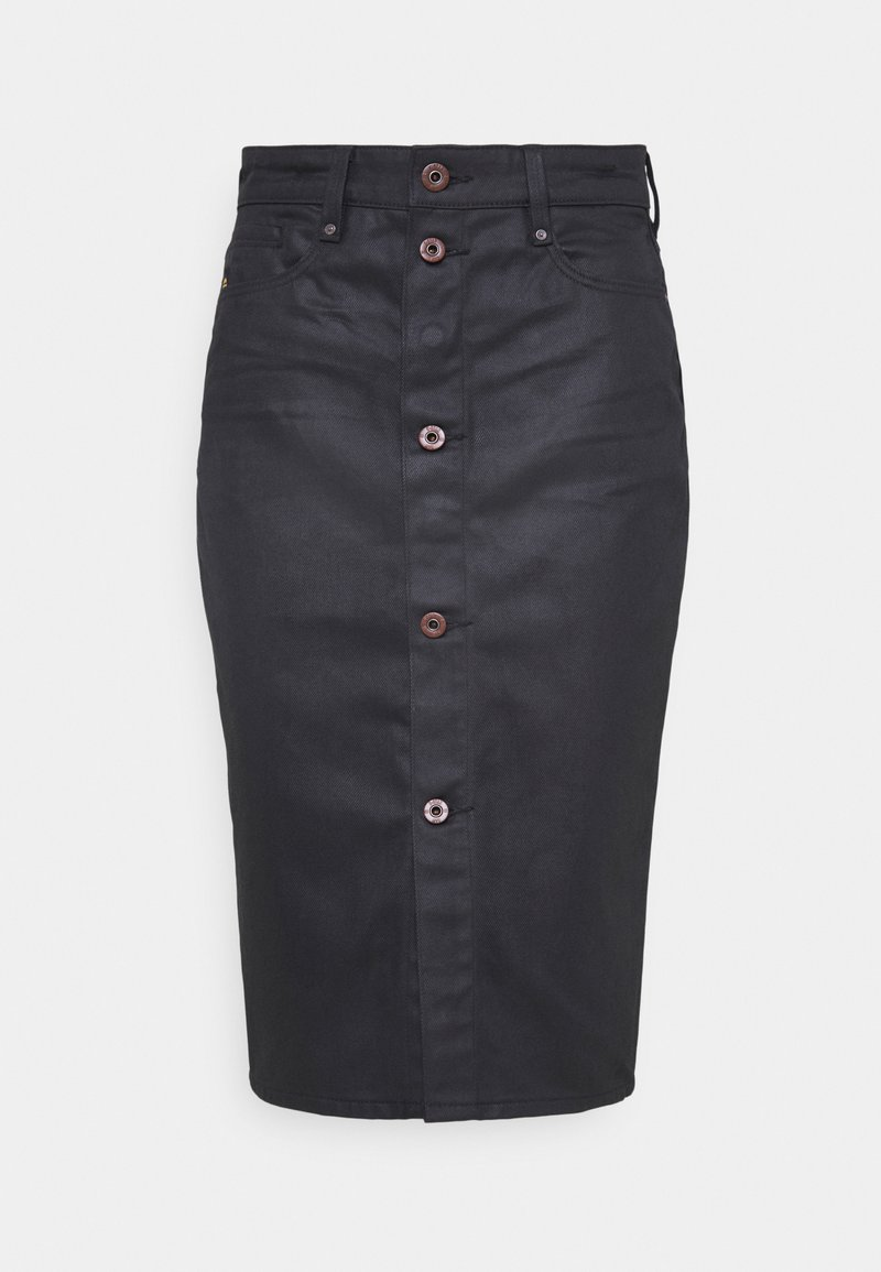 G-Star - NOXER NAVY PENCIL BUTTON SKIRT - Pencil skirt - waxed black cobler
