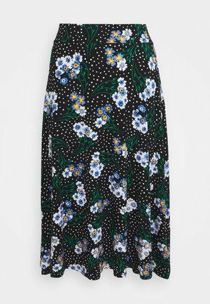 FLORAL SKATER - A-line skirt - black