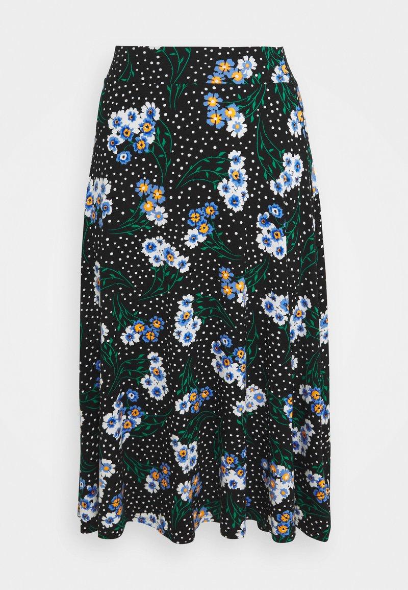 Marks & Spencer London - FLORAL SKATER - A-line skjørt - black