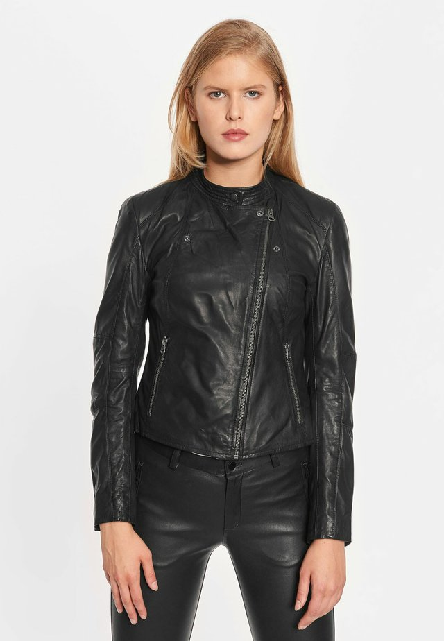 EMMA - Leather jacket - black