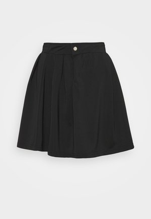 PLEATED SIDE POCKET DETAIL SKIRT - Minihame - black