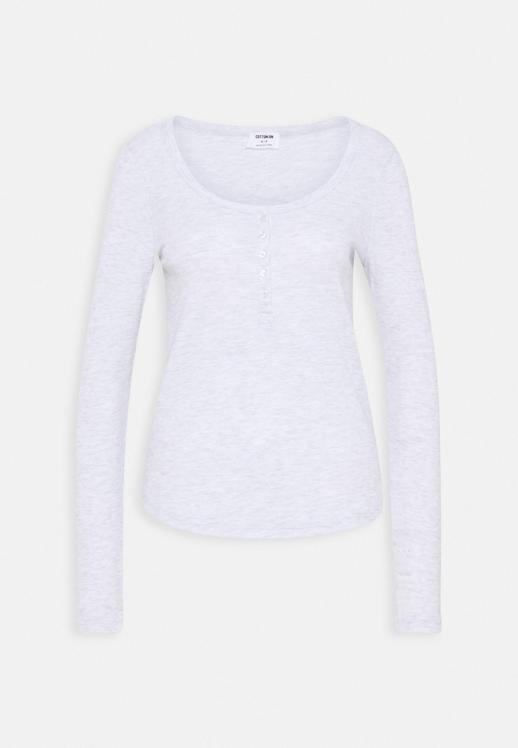 Women WINNIE WAFFLE SCOOP HENLEY LONG SLEEVE  - Long sleeved top
