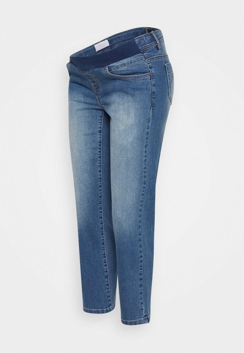 MAMALICIOUS - MARBELLA RIB CROPPED COMFY - Straight leg jeans - medium blue denim/washed