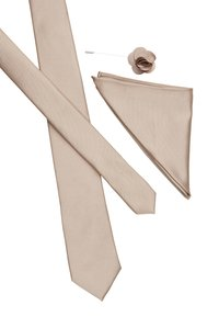 Burton Menswear London - WEDDING PLAIN WITH MATCHING FLOWER PIN SET - Kravata - neutral - 3