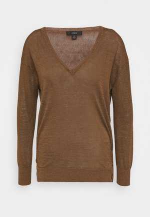 SIDE BUTTON V NECK - Svetr - light pecan