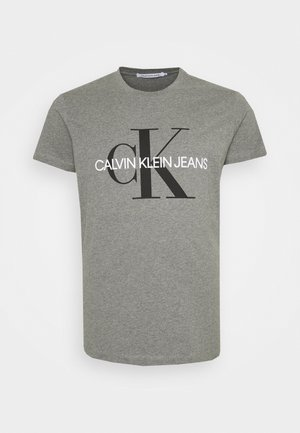 ICONIC MONOGRAM SLIM TEE - Triko s potiskem - mid grey heather
