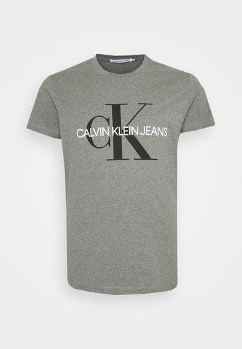 ICONIC MONOGRAM SLIM TEE - T-shirt med print - mid grey heather