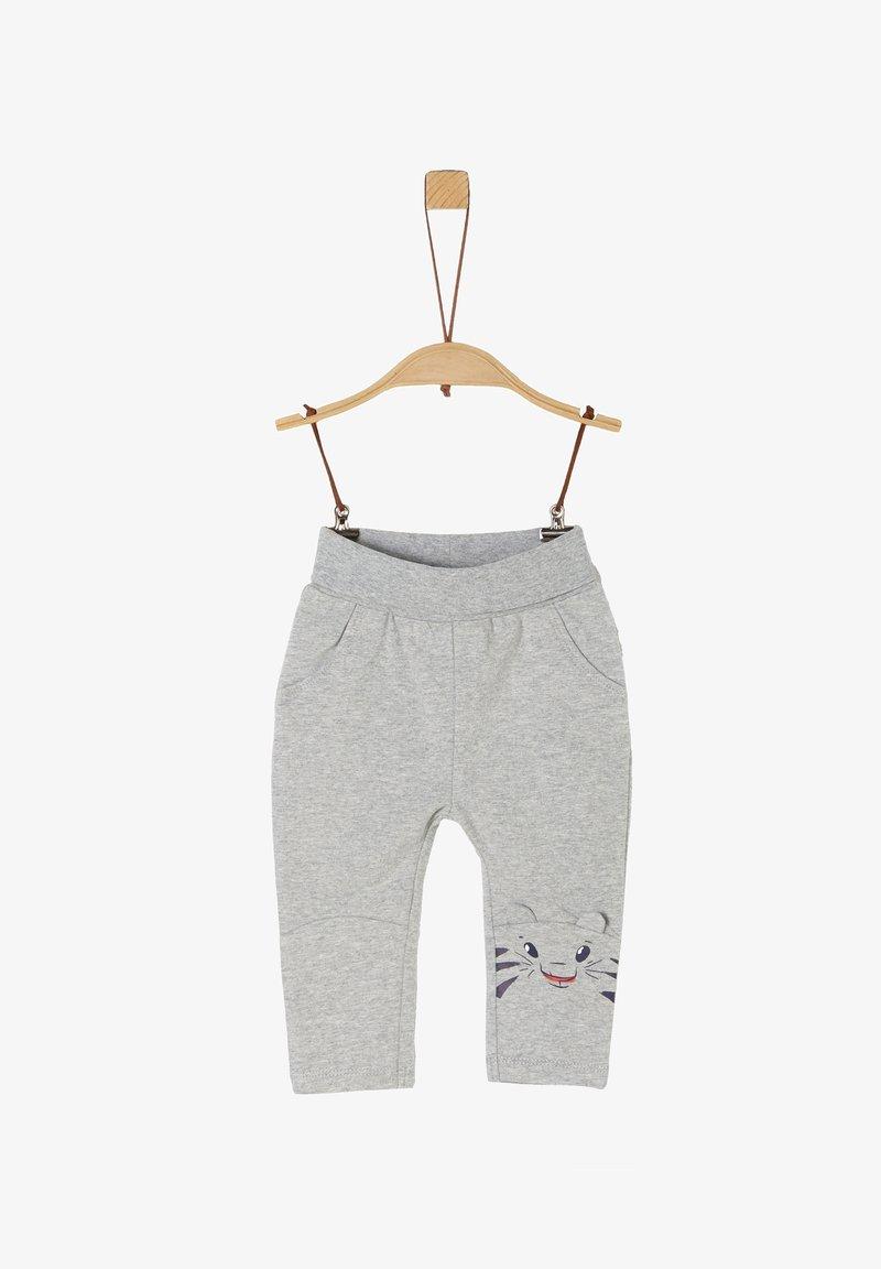 s.Oliver - MIT TIGER-ARTWORK - Trousers - grey melange