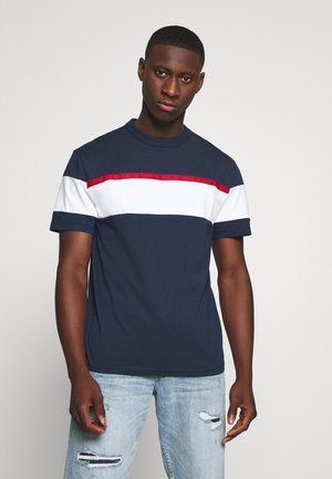 BOLD STRIPE TAPE TEE - Print T-shirt - twilight navy / multicolor