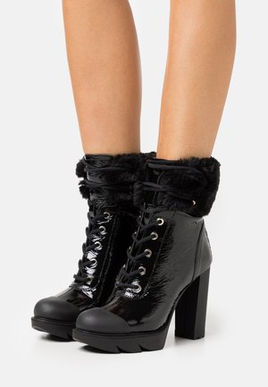 RUBBER CAP - High heeled ankle boots - black