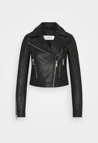 FITTED BIKER JACKET - Leather jacket - black
