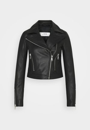 FITTED BIKER JACKET - Leather jacket - black