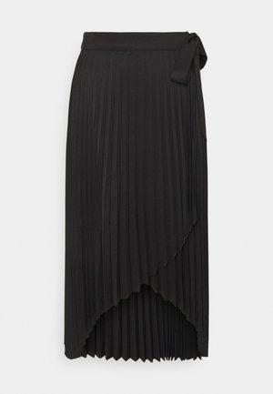 WRAP PLEATED MIDI SKIRT - A-line skirt - black