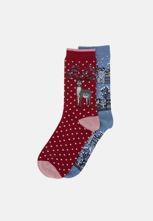 ELIZA 2 PACK - Socks - powder blue/berry red