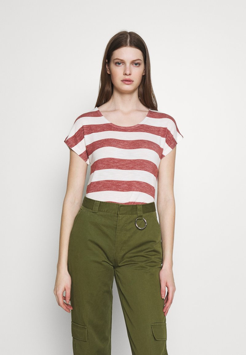 Vero Moda - VMWIDE STRIPE TOP  - Print T-shirt - marsala/snow white