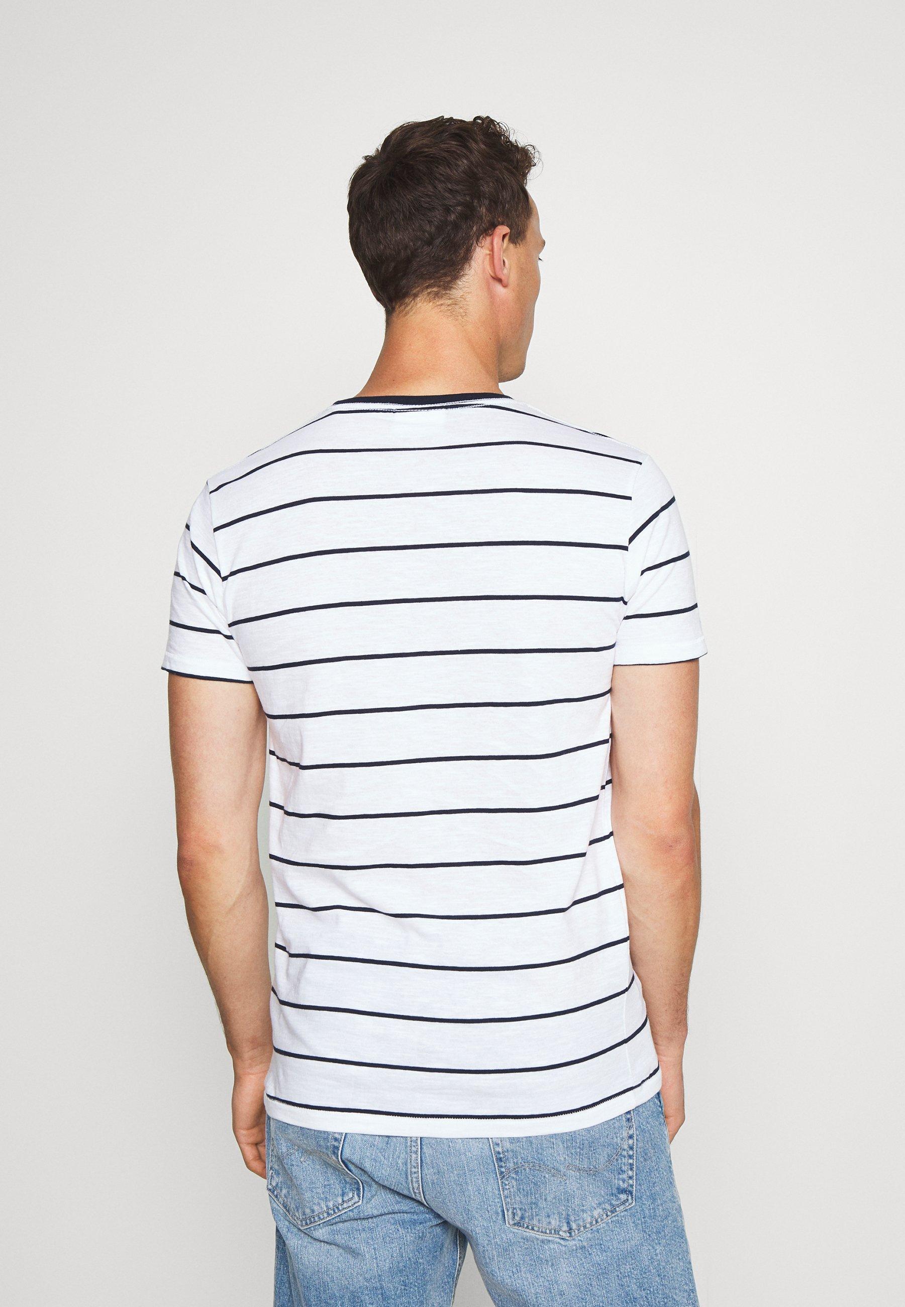 Lindbergh STRIPED SLUB TEE - Print T-shirt - white or9Qr