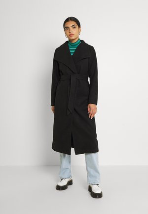 VIPOKU BELTED LONG COAT - Classic coat - black