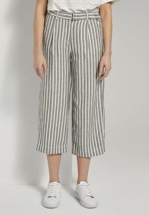 Trousers - khaki offwhite stripe