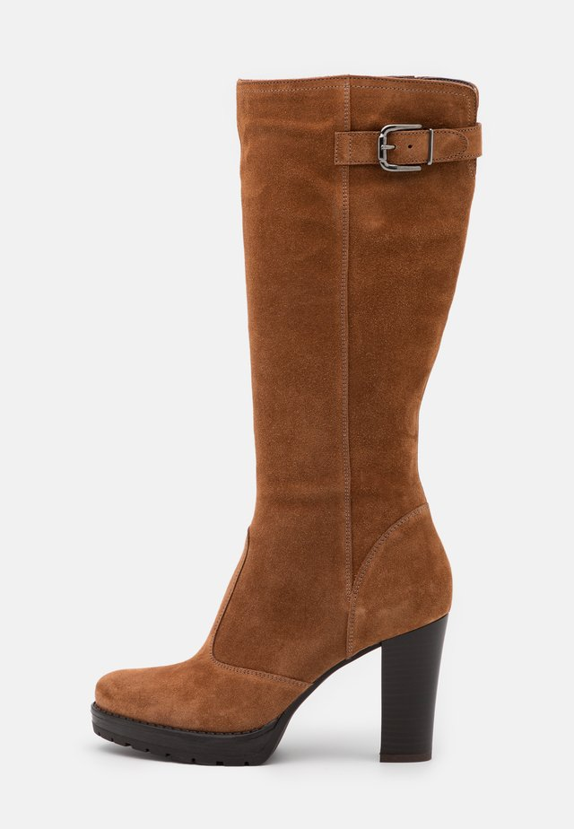 LEATHER - High heeled boots - brown