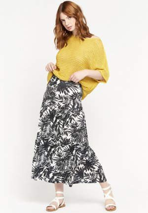 TROPICAL PRINT - Maxi skirt - black