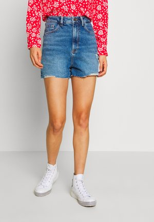 HIGHRISE MOM  - Shorts vaqueros - blue