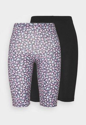 JDYROSSY BIKER 2 PACK - Shorts - adobe rose/rose ditsy/solid black