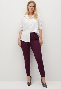 Violeta by Mango - Leggings - Trousers - weinrot - 1