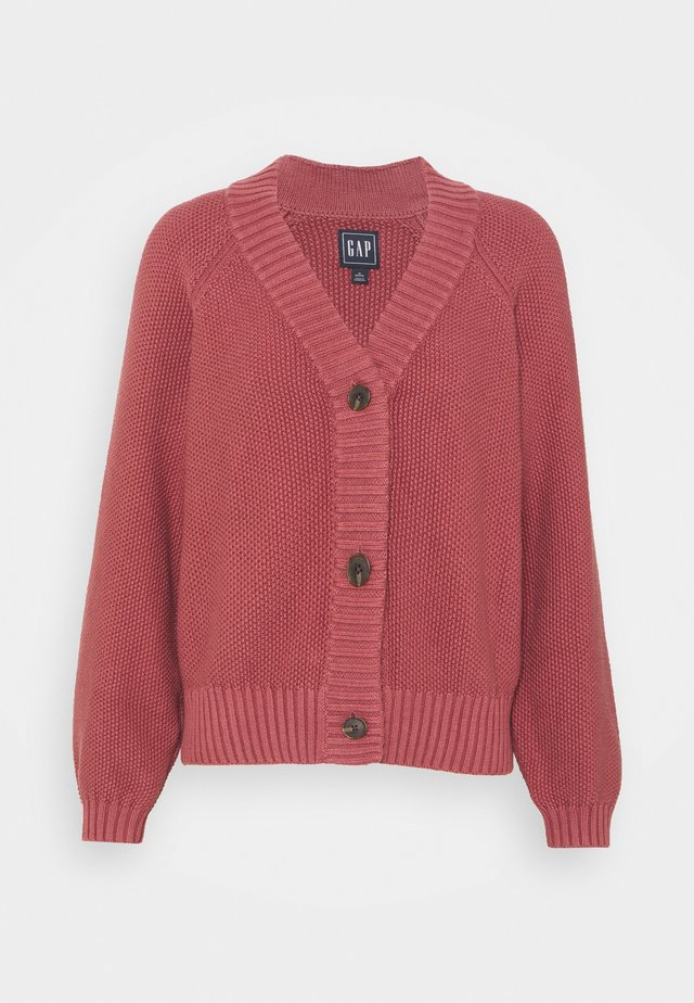 TEXTURED ABBREVIATED CARDIGAN - Cardigan - roan rouge