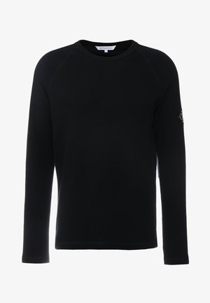 WAFFLE MONOGRAM SLEEVE SLIM - Long sleeved top - black