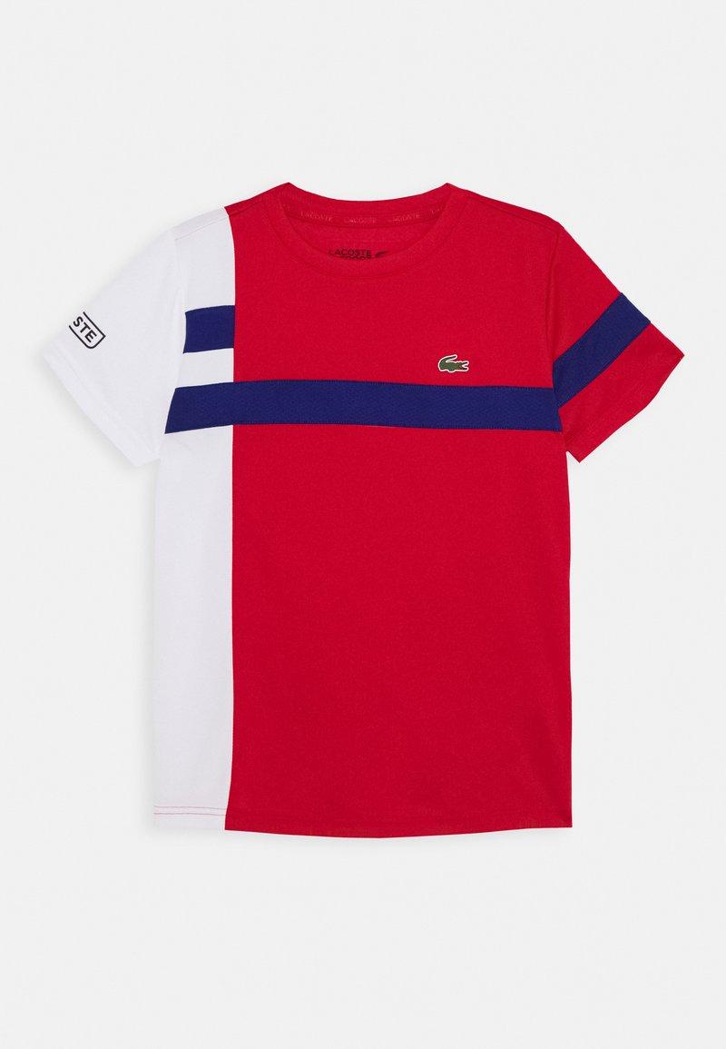 Lacoste Sport - TENNIS UNISEX - T-shirt z nadrukiem - red/white/cosmic-black