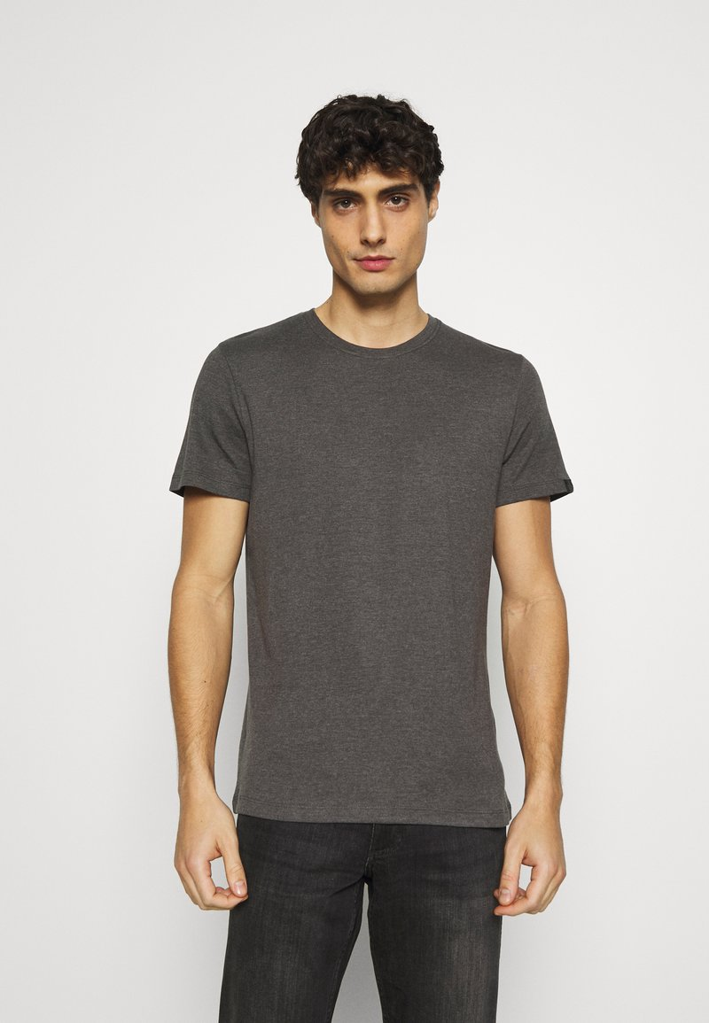 TOM TAILOR - BASIC CREW NECK TEE - T-shirt - bas - dark grey melange