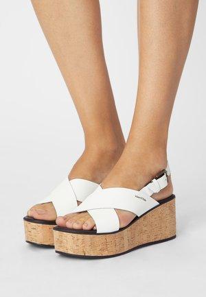 CLAUDIA - Wedge sandals - white