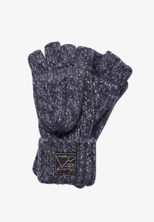 TWEED CABLE - Fingerless gloves - navy